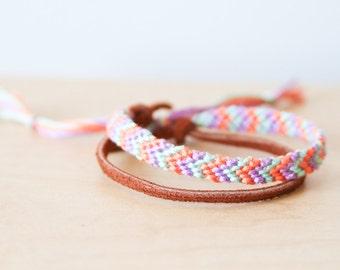 Friendship Bracelet Southwestern Tribal Geometric Arrow Chevron Mint Coral and Lilac