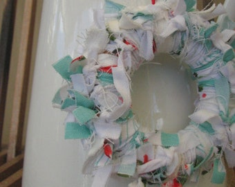 Mini Fabric Wreath: Aqua-Rose Rag Wreath (~11cm diameter)