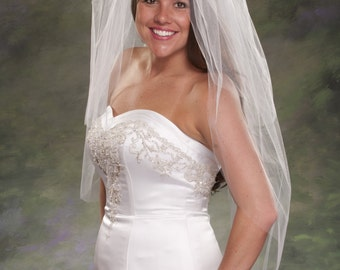 White Fingertip Wedding Veil 36 Inch Long With 24 inch Blusher Veil Illusion Tulle Light Ivory Bridal Veils