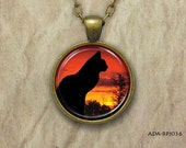 Black Cat, Round Art Pendant, Charm, Sunset, Trees, Silhouette, Silver or Antique Gold, Jewelry  (ADA-RPJ036)