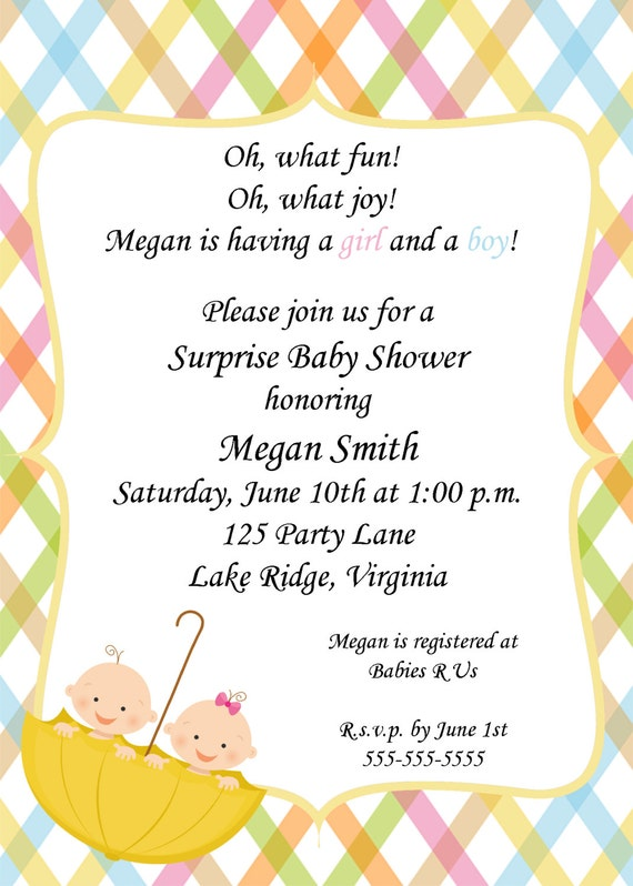 Boy Girl Twin Baby Shower Invitations with good invitations example