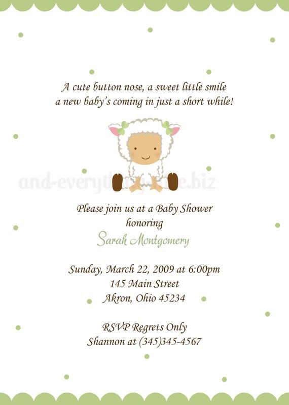 baby lamb sheep baby shower birthday invitations custom design
