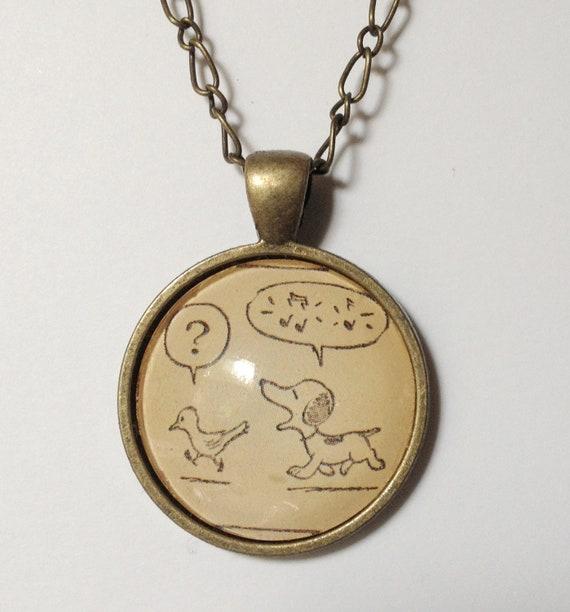 peanuts snoopy glass pendant necklace