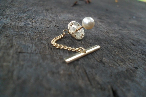 Vintage Ballou Tie Tack, Gold Tone with Pearl, 1960s, Formal Wear, Wedding, Groom