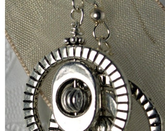 Pewter Cirle and Bead Twirl Earrings