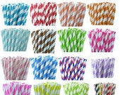 100 Paper Straws - 24 COLORS Party Straw Package with DIY Straw Flags - Wedding Birthday Bridal Baby Shower