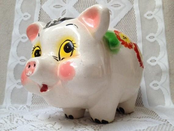 On sale vintage painted ceramic piggy bank pig by for How to paint a ceramic piggy bank