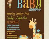 SALE - Safari Animal Friends Baby Shower Invite - Printable DIY Invitation - 3 versions - You Print
