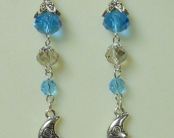 Ethereal Blue Moon Sterling and Crystal Dangle Earrings