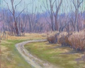 """Original Pastel Painting """"Around the Bend"""" Colette Savage, landscape fine art, country road, early spring, March, dirt road, violet hills"""