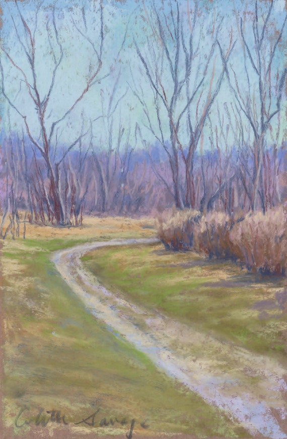 """Original Pastel Painting """"Around the Bend"""" Colette Savage, landscape,  fine art, country road, early spring, March, dirt road, violet hills"""