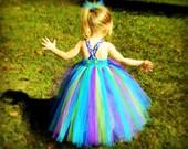 Peacock Inspired Tutu Dress Blue Top Vibrant NB-8