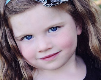 Turquoise, Grey and Black Fabric Flower Headband / Satin Lined Headband / Children Headband /Toddler Headband / Photo Prop