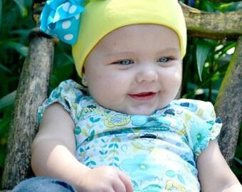 Baby Beanie.Infant Beanie.N ewborn Beanie.Baby Girl Beanie.Newborn Hat.Baby Hat.Bow Beanie.Cotton Hat.Hospital Beanie.Cotton Beanie With Bow