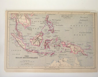 Antique Map -- Book Plate of The Malay Archipelago -- Southeast Asia Islands 1894