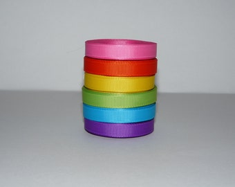 """3/8"""" (10 mm) Rainbow Bright Solid Grosgrain Ribbon Lot  (You Choose 3 or 5 yards EACH of 6 colors)"""