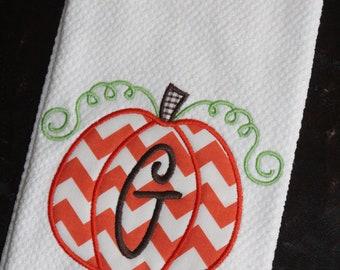 Personalized Chevron Pumpkin Towel