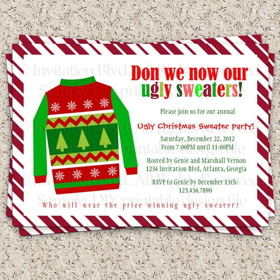 ugly christmas sweater party invitations free | alesi,