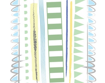 Blue Lines graphic print