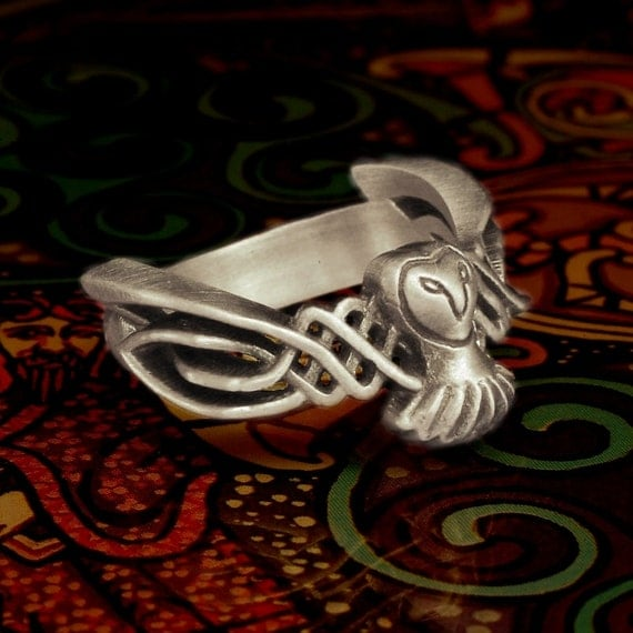 Celtic Owl Ring, 925 Sterling Silver Owl Ring, Barn Owl Jewelry, Celtic Ring, Unique Wedding Band, Owl Gifts for Women, Owl Wedding CR-1011