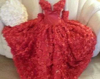 Red Rose Goddess Middle Eastern Inspired Strapless Bridal Wedding Formal Ball Gown
