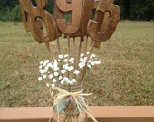 Rustic Wedding Table Numbers - Set Includes Numbers 1-12 - Shabby Chic - Wooden Table Numbers