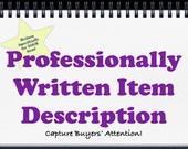 Item Description Written in American English. Sell to American Buyers -Shop Marketing, SEO Help, Copywriting, Editing, Shop Coach, Sell More