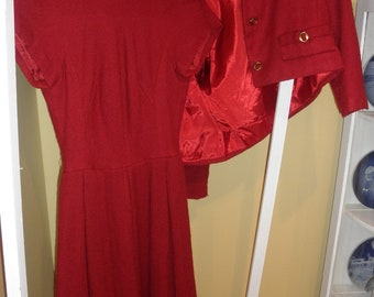 1950's Red Dress & Jacket-Perfect for Christmas or Valentines Day