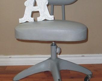 Vintage Industrial Grey Metal Office Desk Chair - Retro