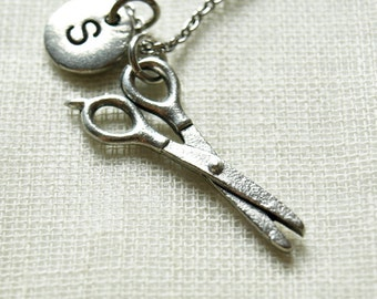Scissors necklace, silver scissors charm, hairdresser, Silver scissors charm, hair stylist, seamstress, initial necklace, monogram