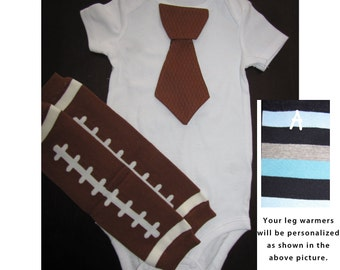 FOOTBALL SET - Tie bodysuit and leg warmers set for baby boys
