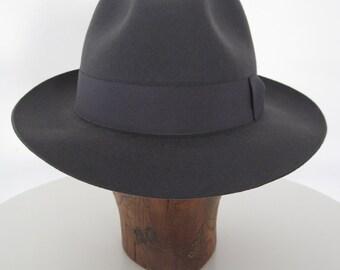Wool Felt Fedora, Classic Style Hat, Medium Gray, 2,36 inches brim