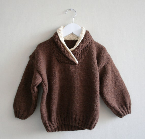Hand Knitted boy sweater. Sizes 0-3, 18 and  24 months. Brown.