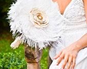 Feather Wedding Bouquet - Fabric Wedding Bouquet, Bridal Bouquets, White Bouquet, Peacock Bouquet, Bridal Parties, Bird Inspired Bouquet