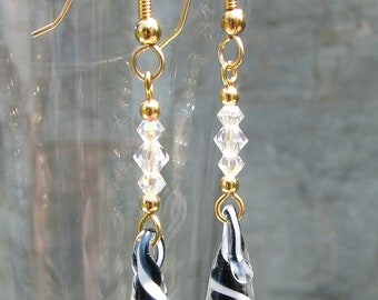 Lampwork, Handmade, Black & White Glass Swirly Drip Earrings with Swarovski Crystals, Gold Filled Hooks