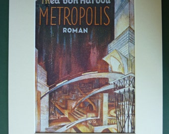Metropolis Vintage Sci-Fi Print - Science Fiction Print - Fritz Lang - City - Futuristic - Thea Von Harbou - German - Book Cover