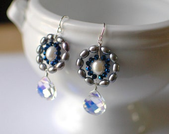 Peace, Royal Blue: Pearl Circlet with Royal Blue Czech Crystal Earring