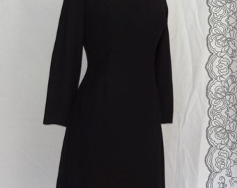 1950s Dress / Little Black Dress Hourglass Shape Classic Style Bombshell / Union Label