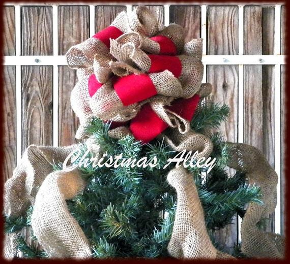 Burlap And Red Christmas Tree: Red Velvet Christmas Tree Topper Burlap Tree Topper Red