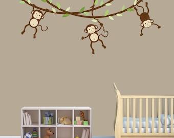 Hanging Monkey Wall Decal, Monkey Vines, Monkey Decal, Nursery Wall Decals, Boy Monkeys, Kids Room Wall Decals, Celadon Design