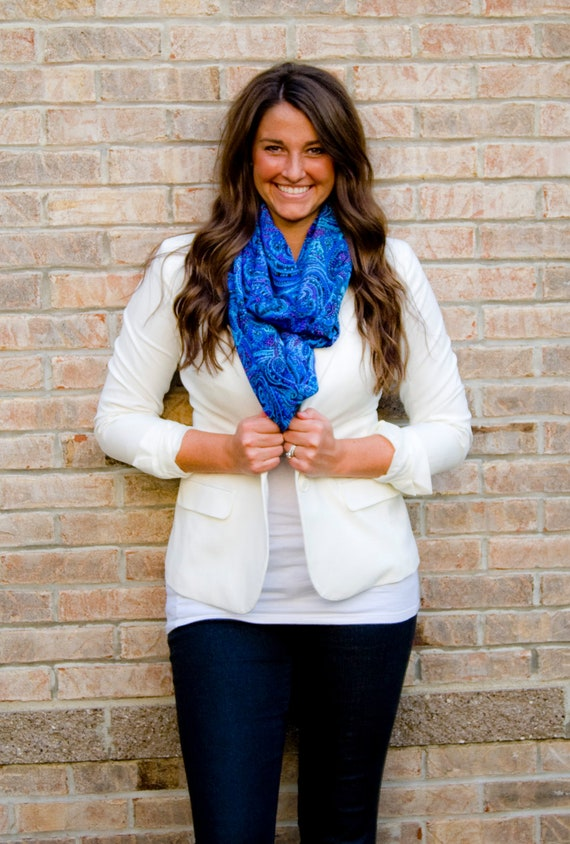 Taxi Paisley Blue Purple Infinity Scarf