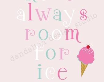 PRINTABLE Always Room For Ice Cream - 8x10 Digital Art Print - Ice Cream Shoppe Party Collection - Dandelion Design Studio