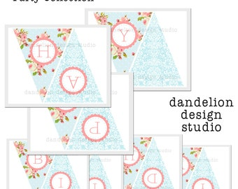 PRINTABLE Happy Birthday Banner - Blue Shabby Chic Party Collection - Dandelion Design Studio