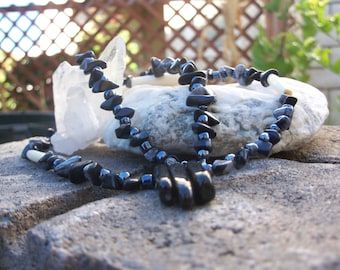 Snowflake Obsibian White Bone Necklace with Three Finger Jet Centerpiece