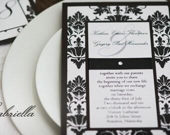 Vintage Black & White Damask Wedding Invitation with Rhinestone  - Custom Sample
