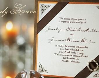 Chocolate & Copper Wedding Invitation with Pearl and Rhinestone Buckle    - Custom Sample