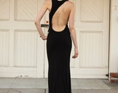 LAUREN - BLACK - Asymmetrical Open Back Jersey Grecian Maxi Dress Sustainable
