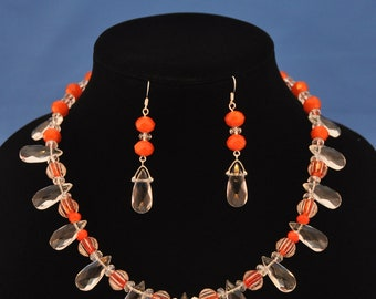 "Handmade ""orange creamsicle"" 19"" necklace and earring set."