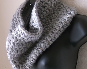 Chunky Heather Grey Crochet Infinity Scarf - Cowl - Neckwarmer
