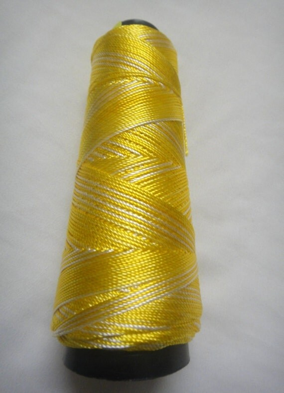 40  gms Viscose  Silk yarn / Crochet  lace  Yarn  Shaded Lemon Yellow color.